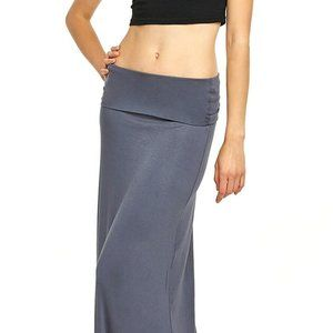 Marbled Grey Fold Over Maxi Skirt